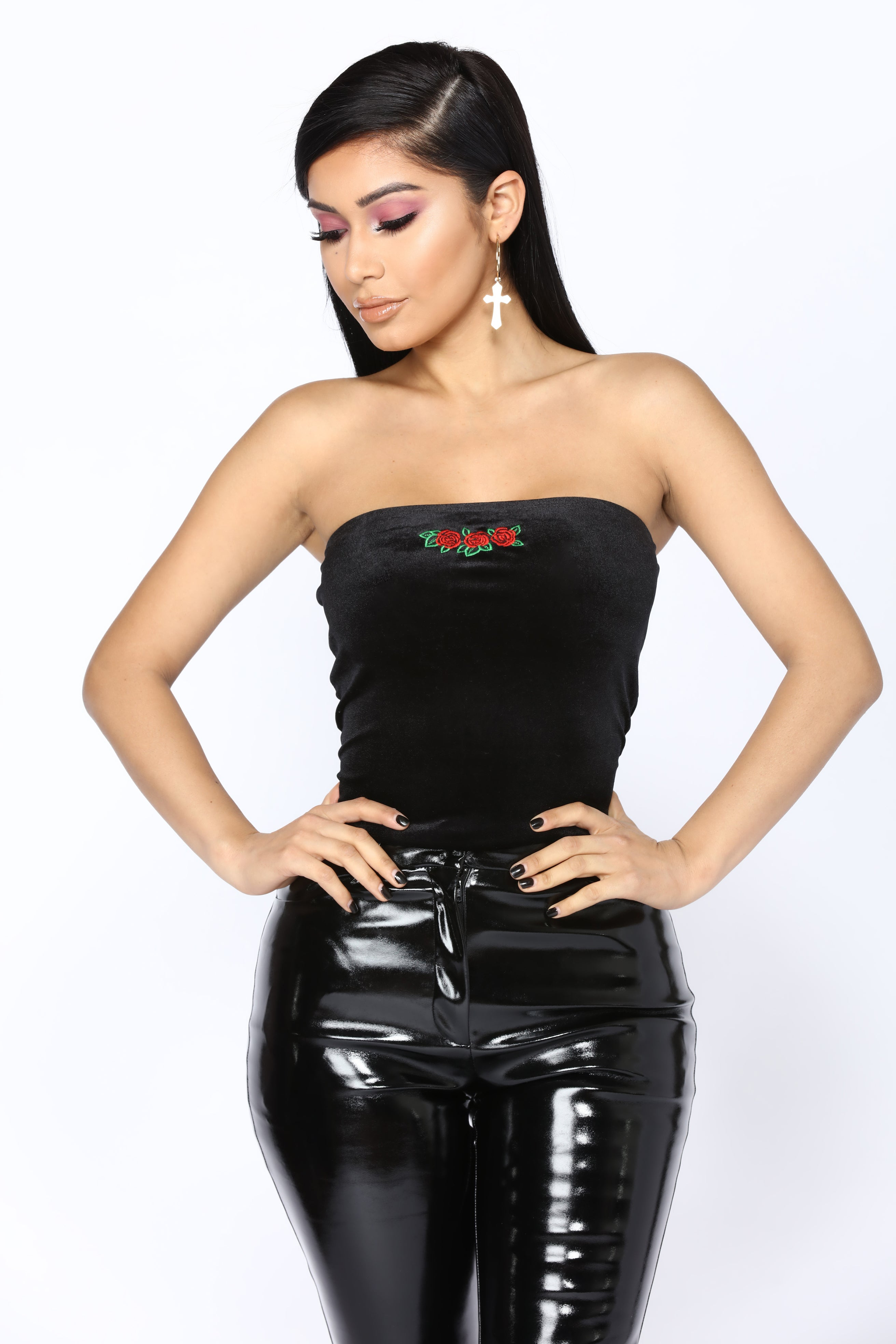 Through The Rose Tube Top - Black-1378