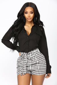 Keeping It Simple Button Down Shirt - Black