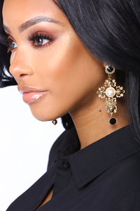 Pearls And Stones Cross Earrings - Gold