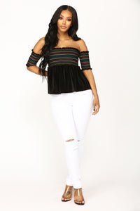 Ain't She Sweet Velvet Top - Black