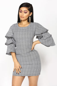 Life Calling Houndstooth Dress - Black/White Angle 2