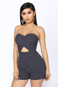 Nina Striped Romper - Navy