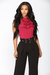 Serve Yourself Ruffle Top - Wine