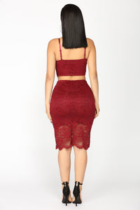 Millicient Lace Skirt Set - Burgundy