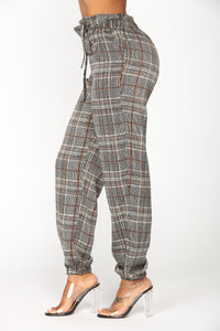 Sarina Plaid Silky Joggers - Black Multi
