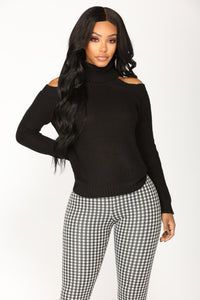 Nayla Cold Shoulder Sweater - Black