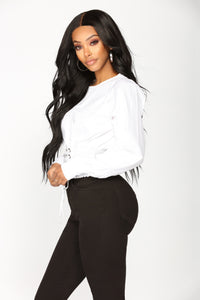 Madelyn Lace Up Top - White