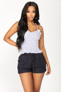 Blair Smocked Top - Blue/White