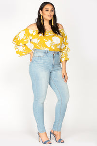 Floral Feelings Off Shoulder Top - Mustard/Ivory