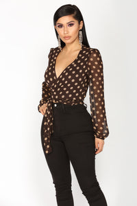 Persuasive Ways Polka Dot Top - Brown