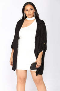 On The Go Drape Front Jacket - Black