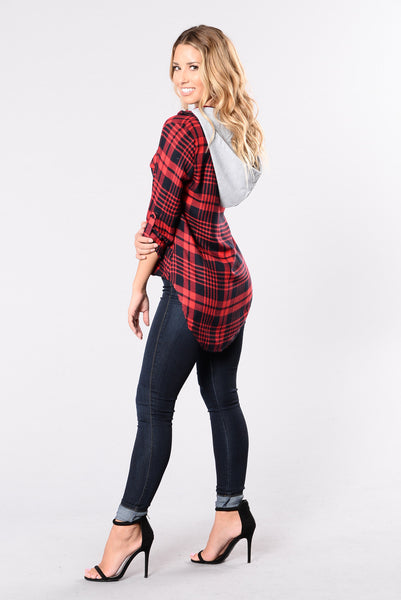 High School Sweetheart Flannel - Red