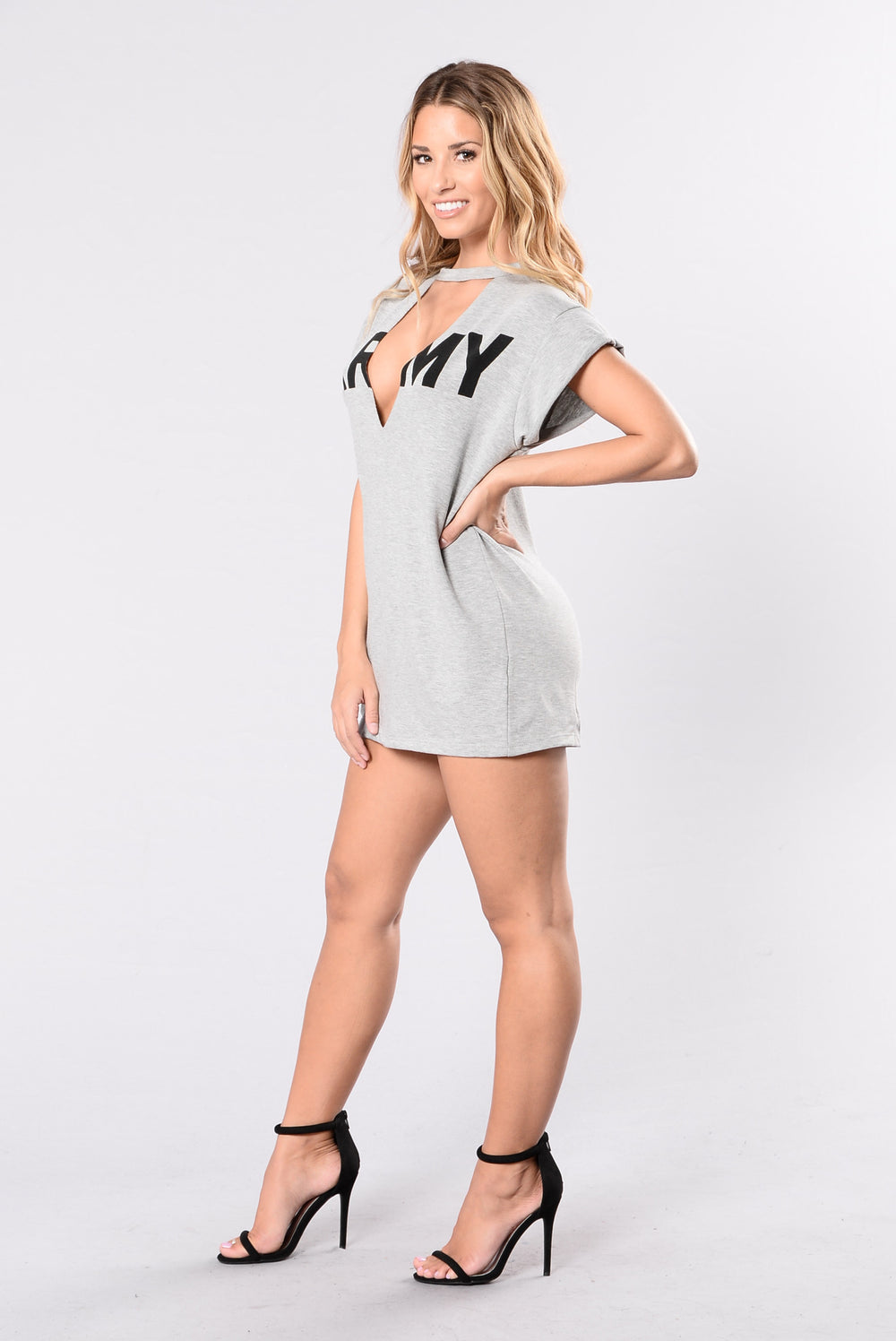 Army Strong Dress - Heather Grey/Black