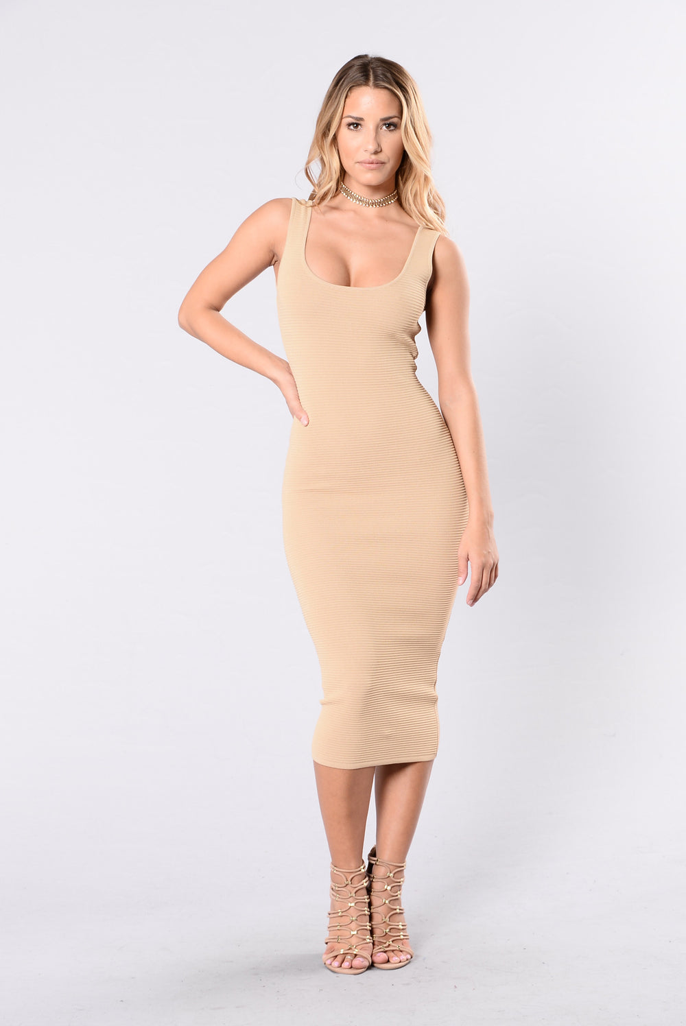 Baby You Got Me Dress - Taupe