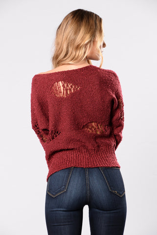 Train Wave Sweater - Burgundy