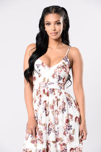Hydrangea Dress - Ivory/Wine Angle 4