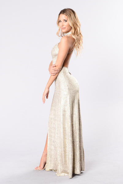 Come My Way Dress - Gold