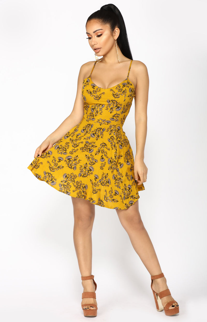 Wall Flower Mini Dress - Mustard