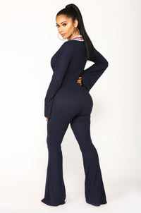 Supper Club Jumpsuit - Navy/Burgundy