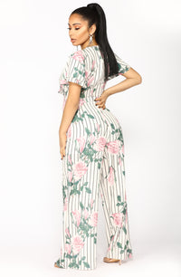 Faking It Floral Jumpsuit - White