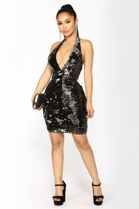Late Night Special Sequin Dress - Black Silver Angle 1