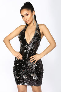 Late Night Special Sequin Dress - Black Silver