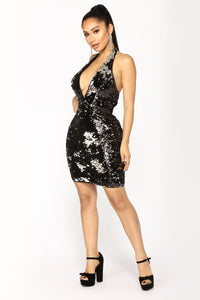 Late Night Special Sequin Dress - Black Silver Angle 3