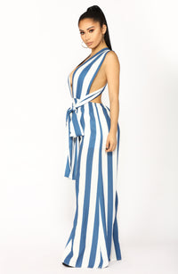 Windward Multiway Jumpsuit - Blue/White