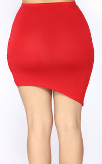 Meet You Halfway Asymmetrical Skirt Set - Red