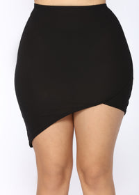 Meet You Halfway Asymmetrical Skirt Set - Black