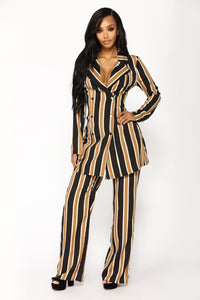 Aileen Pant Set - Black/Taupe