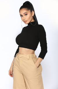 Ashlynn High Neck Top - Black