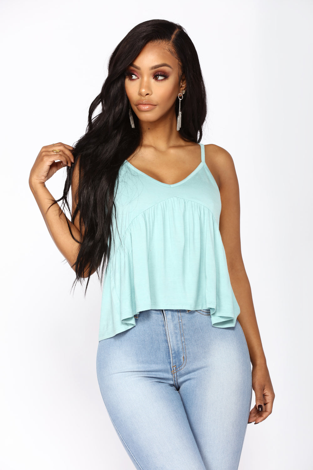 After Hours Peplum Top - Turquoise
