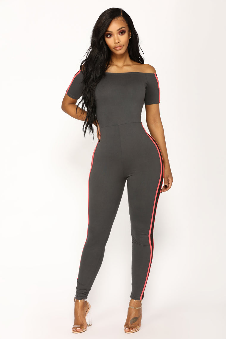 Not A Basic Babe Jumpsuit - Charcoal