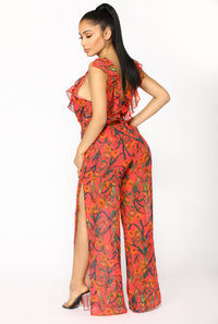 Hot Weather Tropical Jumpsuit - Coral