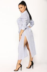 Marybel Longline Shirt - Blue/White