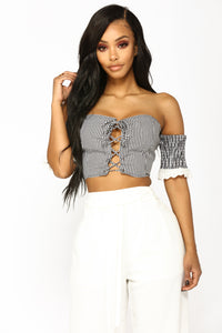 Picnic Perfect Off The Shoulder - Black/White
