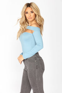 Not The Same Long Sleeve Bodysuit - Dusty Blue