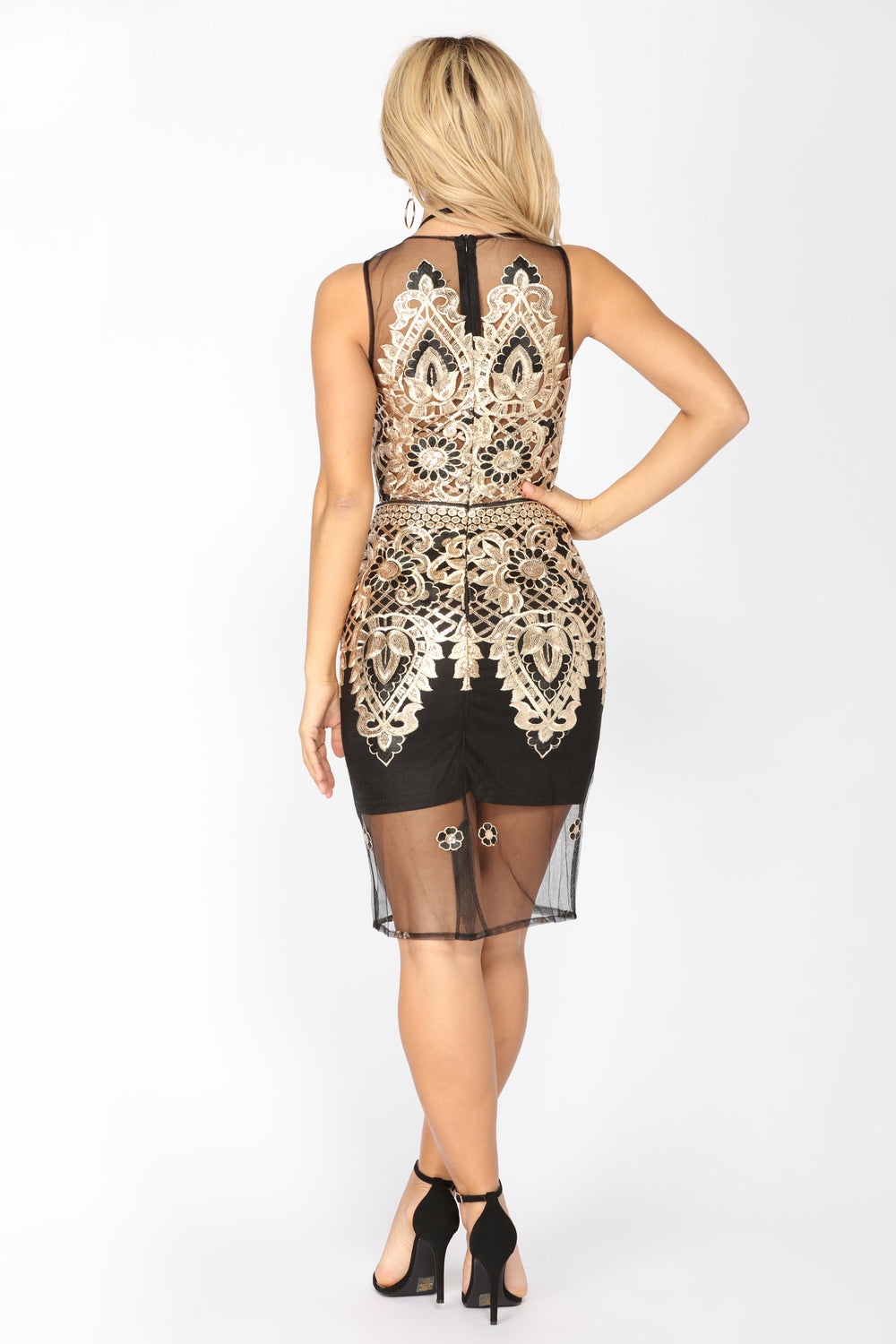 Fire And Ice Sequin Dress - Black