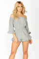 Lucinda Striped Romper - Grey/White