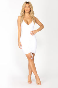 Shanghai Ruched Dress - White Angle 3