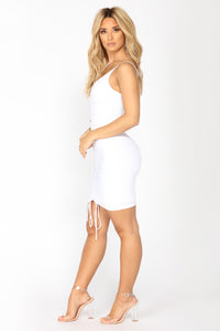 Shanghai Ruched Dress - White Angle 4