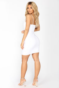 Shanghai Ruched Dress - White Angle 5