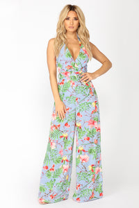 Hot Spell Tropical Stripe Jumpsuit - Blue Multi