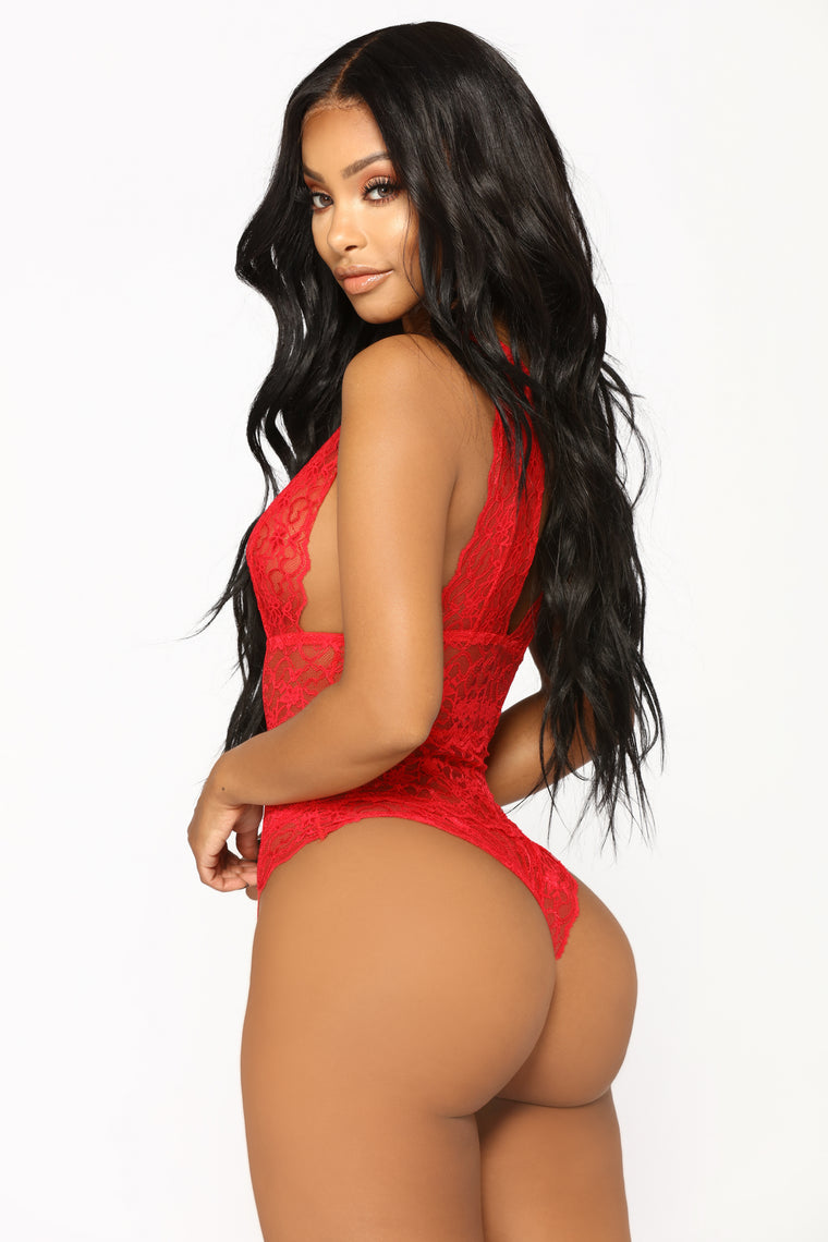 Send My Love Lace Teddy - Red