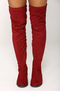 Stomp Statement Over The Knee Boot - Wine