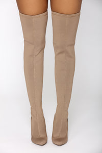 Olivia Over The Knee Boot - Taupe Angle 3