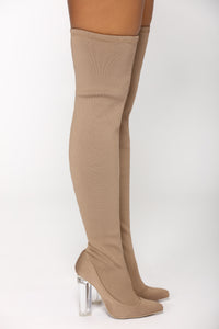 Olivia Over The Knee Boot - Taupe