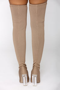 Olivia Over The Knee Boot - Taupe Angle 5