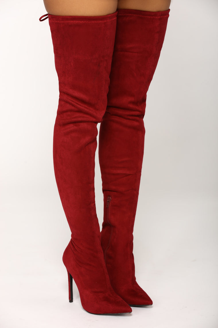Vicky Over The Knee Boot - Burgundy